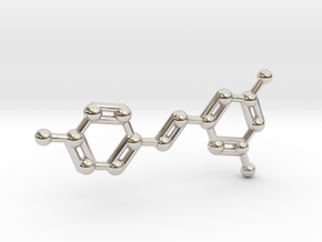 Resveratrol (Red Wine) Molecule Keychain in Rhodium Plated Brass