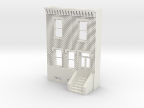 HO SCALE ROW HOUSE FRONT BRICK 2S in White Natural Versatile Plastic