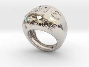 2016 Ring Of Peace 31 - Italian Size 31 in Rhodium Plated Brass