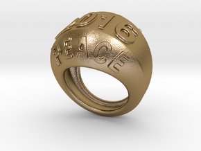 2016 Ring Of Peace 31 - Italian Size 31 in Polished Gold Steel