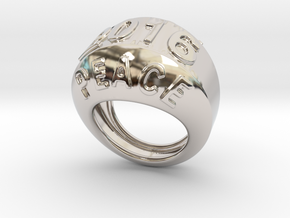 2016 Ring Of Peace 33 - Italian Size 33 in Rhodium Plated Brass