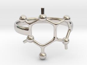 Caffeine molecule ring - Size 8  in Rhodium Plated Brass