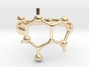 Caffeine Molecule ring - size 6 in 14k Gold Plated Brass