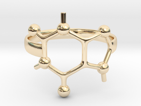 Caffeine Molecule ring - Size 7  in 14K Yellow Gold