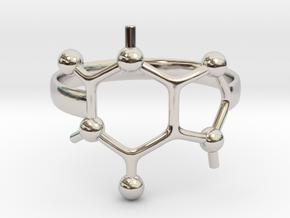 Caffeine Molecule ring - Size 7  in Rhodium Plated Brass