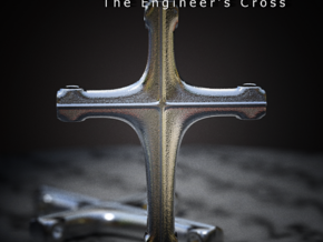 The Engineer's Cross in Polished Bronzed Silver Steel