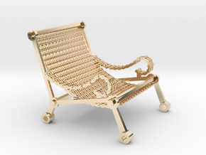 1:12 scale miniature industrial art chair in 14k Gold Plated Brass