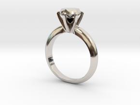 Diamond ring 'Big', size 7us (17,35mm) in Rhodium Plated Brass