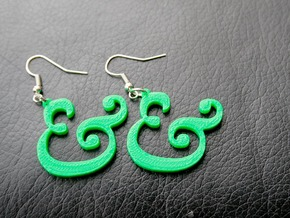 Ampersand Earrings (Caslon Pro Italic) in Green Strong & Flexible Polished