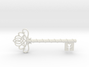 Skeleton Key with Celtic Knot in White Natural Versatile Plastic
