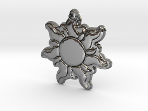 Disney Tangled Sun Flower Necklace Replica Pendant in Fine Detail Polished Silver