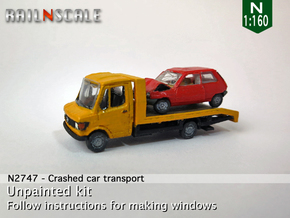 SET Crashed Car Transport (N 1:160) in Smooth Fine Detail Plastic