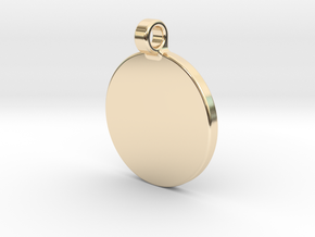 Your embossed pendant, round, 25mm. in 14K Yellow Gold