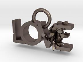 Broken Love in Polished Bronzed Silver Steel