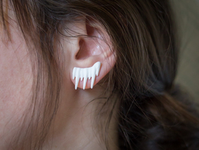 Icicle Studs in White Strong & Flexible Polished