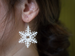 Interlaced Snowflake Earrings in White Processed Versatile Plastic