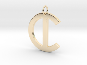 C in 14k Gold Plated Brass