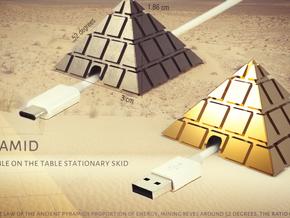 Pyramid - USB cable on the table stationary skid in 18k Gold Plated Brass