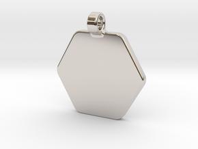 Your embossed pendant, hexagonal, 25mm. in Platinum