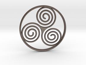 Triskele Pendant  in Polished Bronzed Silver Steel