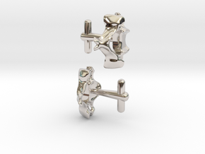 Anatomical Vertebrae C4 Cufflinks in Rhodium Plated Brass