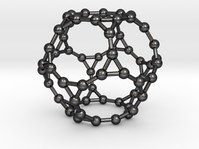 0384 Truncated Dodecahedron V&E (a=1сm) #003 in Polished Grey Steel