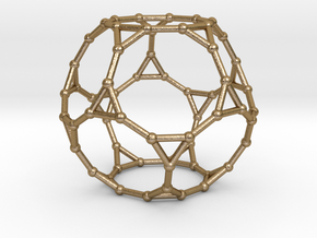 0383 Truncated Dodecahedron V&E (a=1сm) #002 in Polished Gold Steel