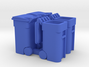 Trash Cart 64 gal Mixed - HO 87:1 Scale Qty (4) in Blue Processed Versatile Plastic