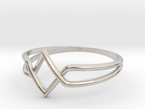 Double V Ring for Vanesa - Size 6 1/2 in Rhodium Plated Brass