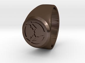 Signet Ring Deer Logo 19mm men in Polished Bronze Steel