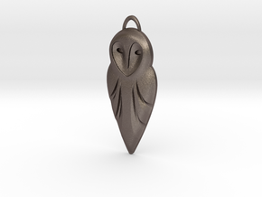 Barn Owl Pendant in Polished Bronzed Silver Steel