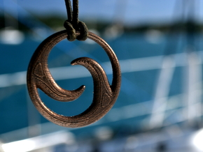 'Ride The Wave' Pendant in Polished Bronze Steel