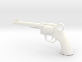 REVOLVER - GUN Pendant in White Processed Versatile Plastic