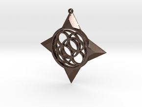 Simple Compass Pendant in Polished Bronze Steel