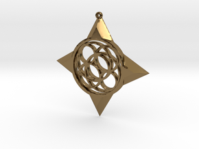 Simple Compass Pendant in Polished Bronze