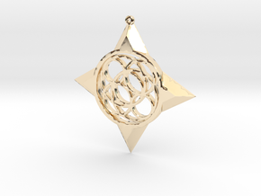 Simple Compass Pendant in 14k Gold Plated Brass