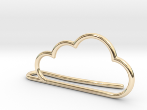 Cloud tie bar in 14k Gold Plated Brass