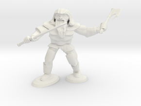 Dwarf Two Weapon Fighter in White Natural Versatile Plastic
