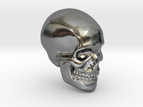 Skull Paperweight in Fine Detail Polished Silver