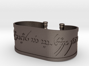 Inscribed Elven Bracelet in Polished Bronzed Silver Steel