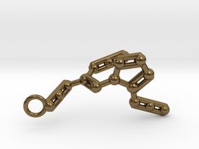 Azidoazide Azide Molecule Keychain in Polished Bronze