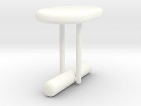 Cufflink Style 14 in White Processed Versatile Plastic