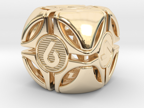 Bullseye D6 in 14k Gold Plated Brass