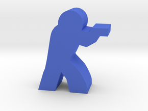 Game Piece, Character with Pistol in Blue Processed Versatile Plastic