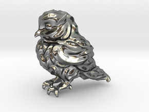 Owl Etta Tiny 3cm - Hollow 1.5mm in Polished Silver