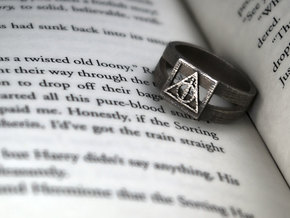 Deathly Hallows Ring Size 13 in Polished Bronzed Silver Steel