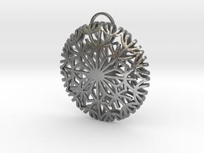 Dandelion seeds pendant(32mm) in Natural Silver