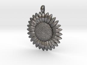 Sunflower Pendant in Polished Nickel Steel