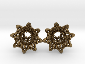 """The Chrysanthemums Plugs /gauge /size1/2""""(12mm) in Polished Bronze"""