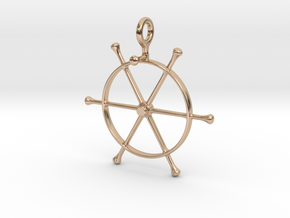 PT 109 Wheel Pendant 4mm Chain Loop in 14k Rose Gold Plated Brass